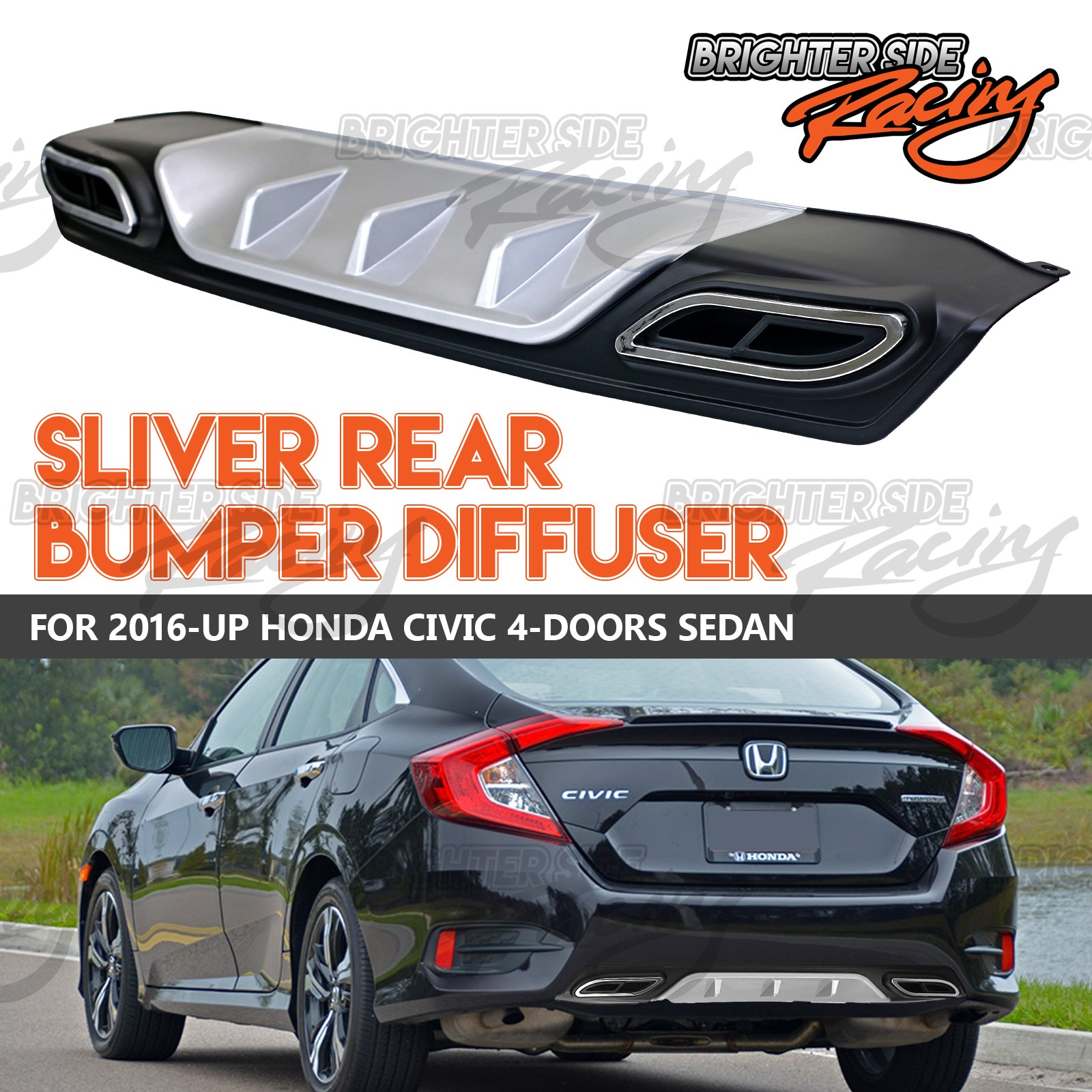 Honda Civic Rear Bumper Diffuser Wiring Diagram Ruud Uomb 084c Made For 2016 17 Sedan Jdm Racing Rh Ebay Com 2000 2017