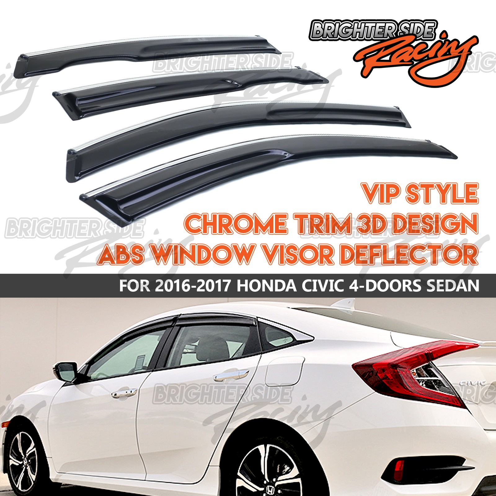 MADE FOR 16-17 HONDA CIVIC SEDAN WINDOW VISOR DEFLECTOR