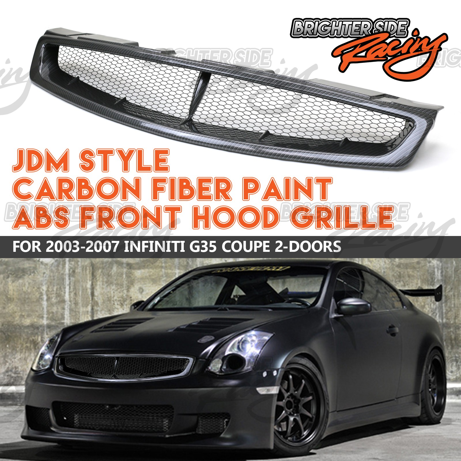 Details About For 05 07 Infiniti G35 Coupe Euro Style Abs Carbon Fiber Paint Hood Grille Grill