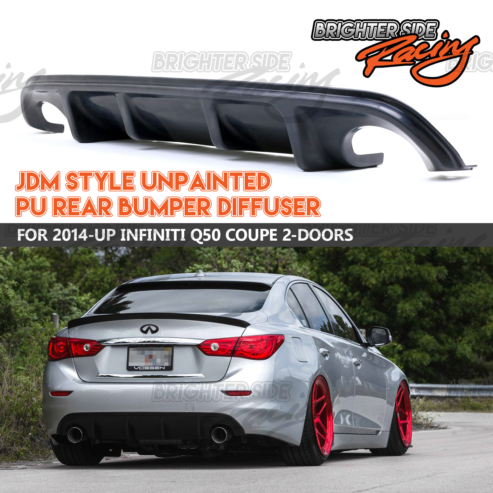 Paintable St Jdm Style Body Kit Rear Bumper Lip Diffuser For 14 17