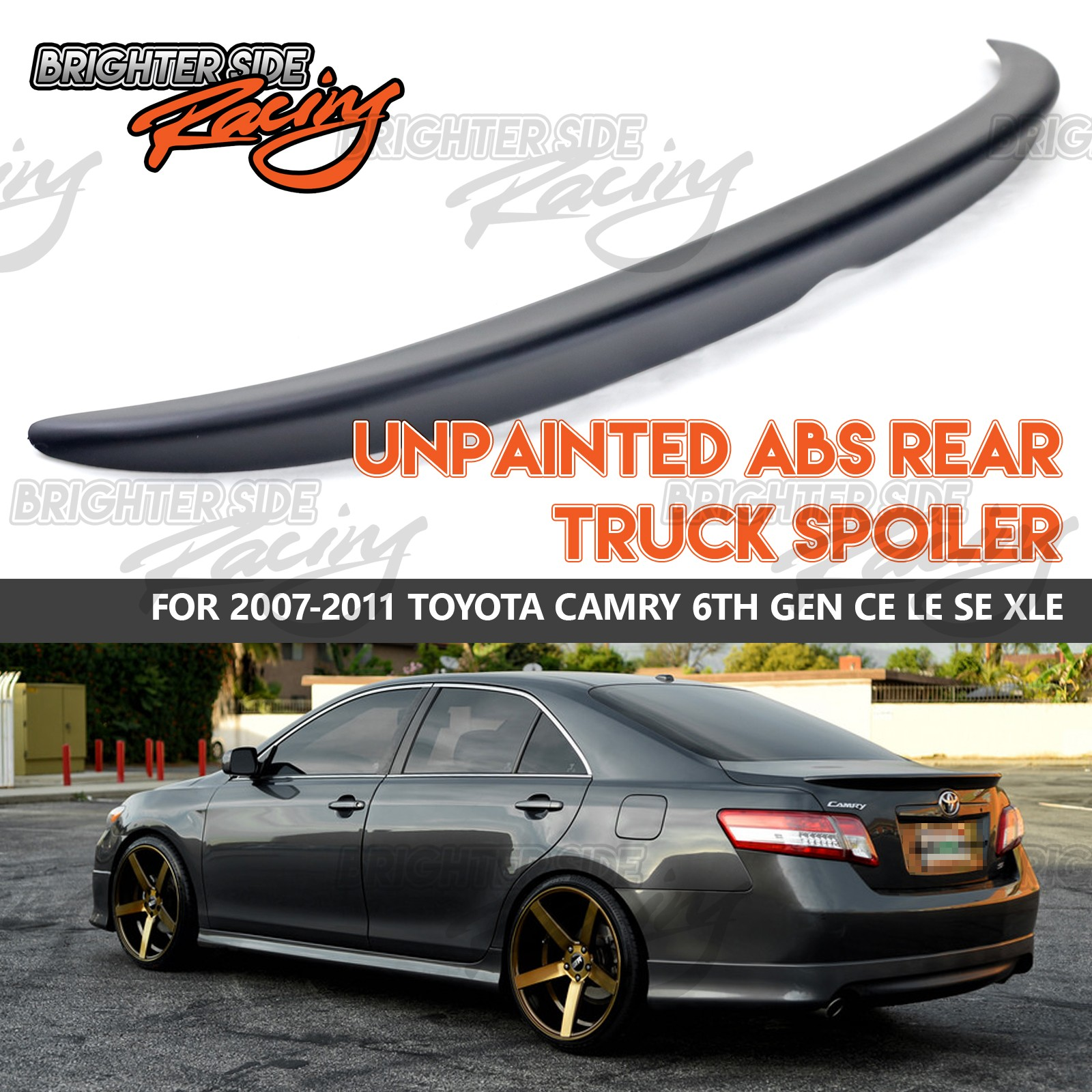 FITS 07-11 TOYOTA CAMRY 4DR JDM MATTE BLACK REAR TRUNK WING SPOILER UPGRADE USA