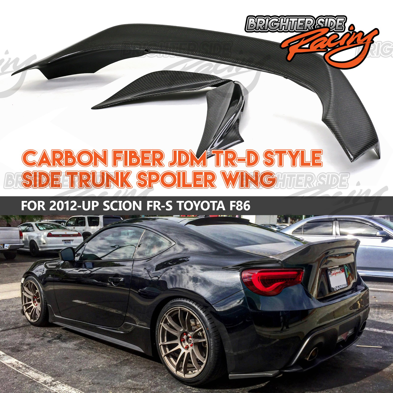 TRD STYLE 3PC CARBON FIBER DUCKTAIL REAR TRUNK SPOILER WING FOR 13