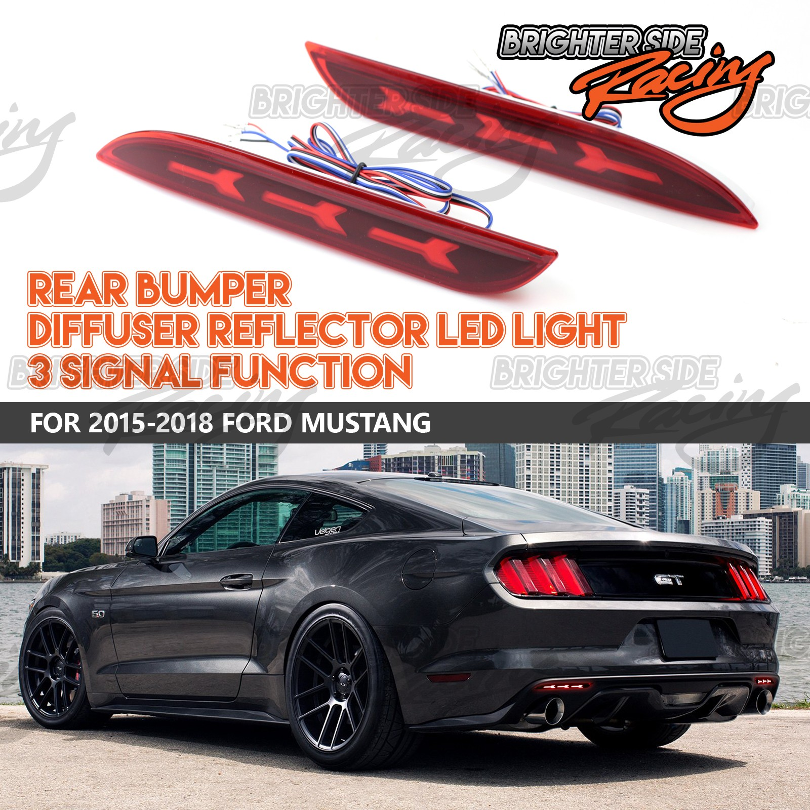 For 15 Up Ford Mustang Rear Bumper Led Brake Trun Reverse Signal Diffuser Tune Your Car With These Multifunctional Lights
