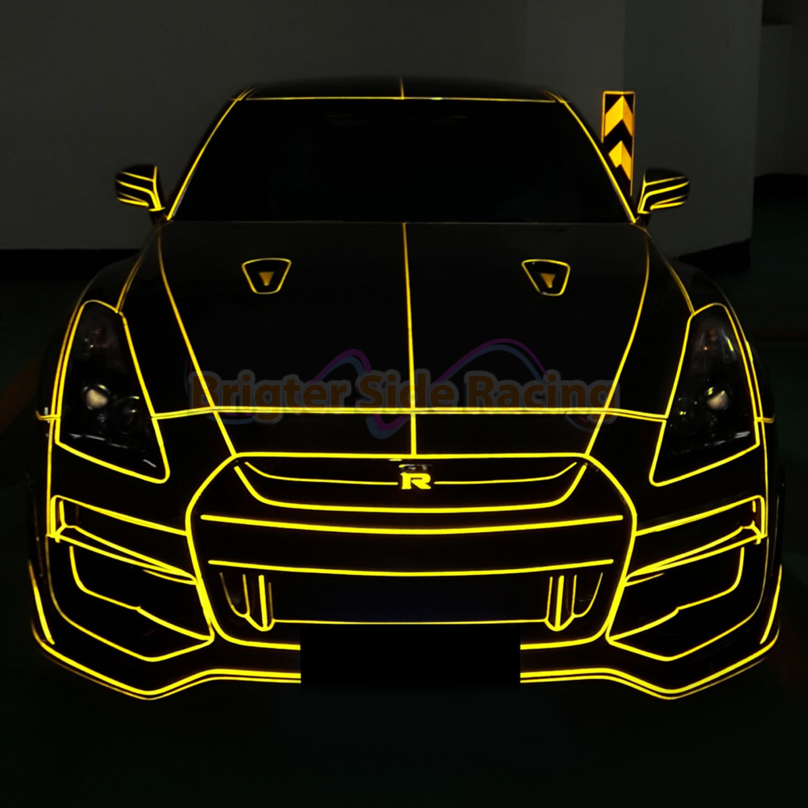 FOR JPN CARS ONLY JDM STYLE YELLOW SELF-ADHESIVE REFLECTIVE TAPE 1CMX45M ROLL